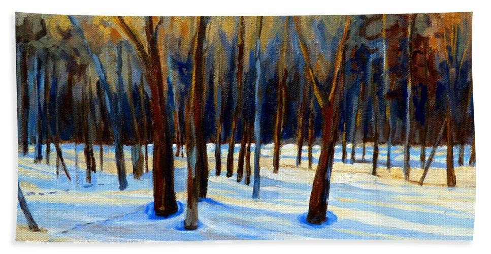 Beautiful Winter Hand Towel featuring the painting Footprints by Carole Spandau