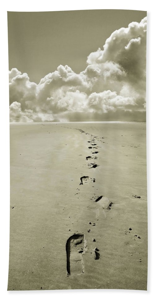 Footprints Hand Towel featuring the photograph Footprints In Sand by Mal Bray