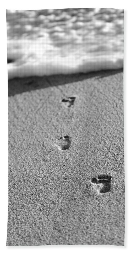 Sand Bath Sheet featuring the photograph Footprints In The Sand Black And White by Jill Reger