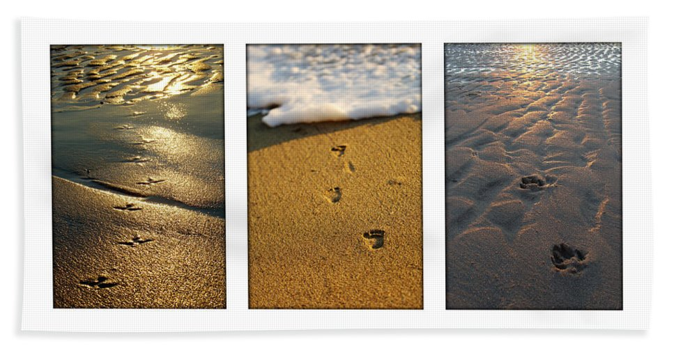 Beach Hand Towel featuring the photograph Footprints In The Sand by Jill Reger