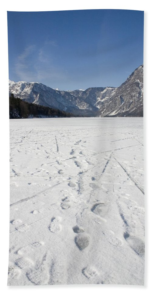 Footprints Bath Sheet featuring the photograph Footprints On A Frozen Lake by Ian Middleton