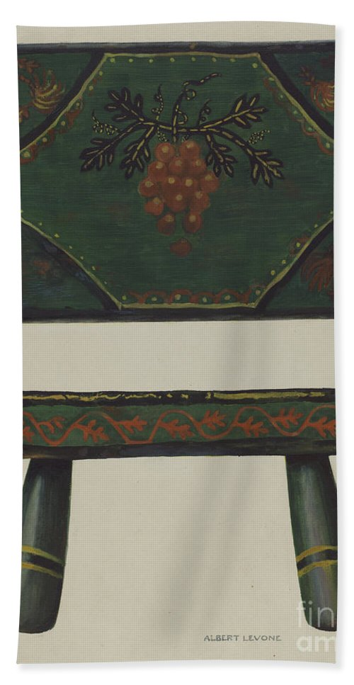 Hand Towel featuring the drawing Footstool by Albert Levone