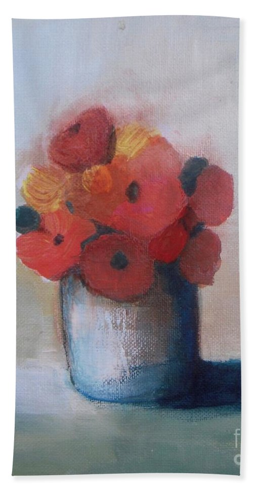 Flowers In Vase Hand Towel featuring the painting Spring Morning by Vesna Antic