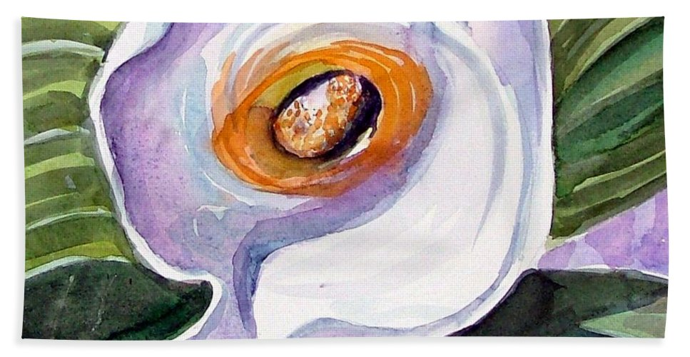 Floral Hand Towel featuring the painting For Georgia O Keefe by Mindy Newman