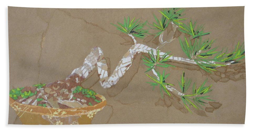 Banzai Tree Bath Towel featuring the painting For Inge by Leah Tomaino