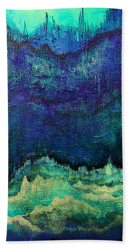 Blue Bath Towel featuring the painting For Linda by Shadia Derbyshire