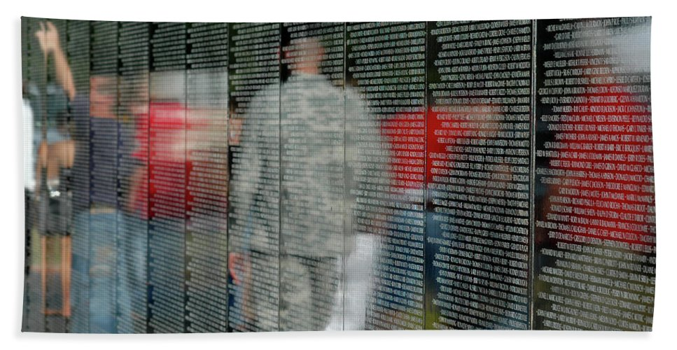Traveling Vietnam Wall Bath Sheet featuring the photograph For My Country by Carolyn Marshall