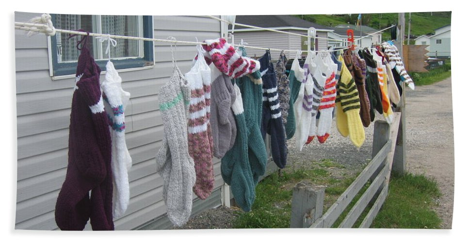 Knitted Socks Newfoundland Bath Towel featuring the photograph For Sale by Seon-Jeong Kim