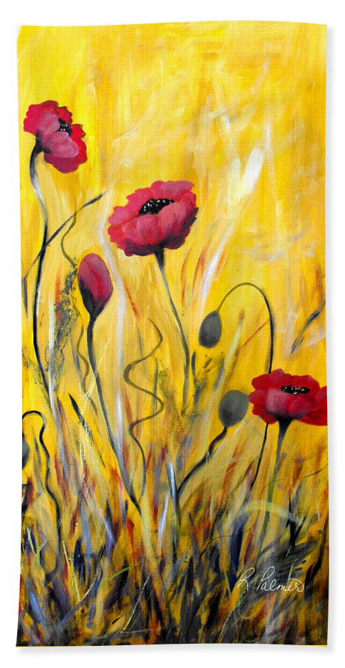 ruth Palmer Hand Towel featuring the painting For The Love Of Poppies by Ruth Palmer