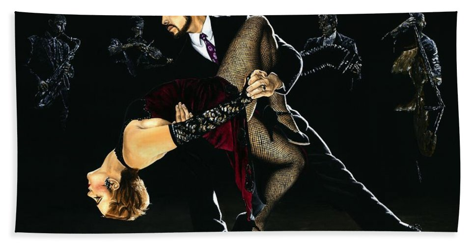 Tango Bath Sheet featuring the painting For the Love of Tango by Richard Young