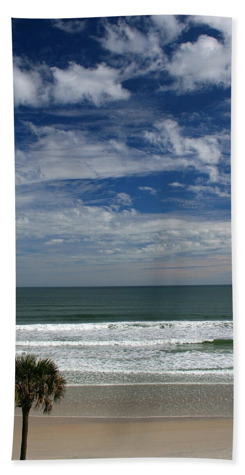 Beach Sky Cloud Clouds Blue Water Wave Waves Palmtree Tree Palm Sand Sun Sunny Vacation Travel Bath Towel featuring the photograph For Your Pleasure by Andrei Shliakhau