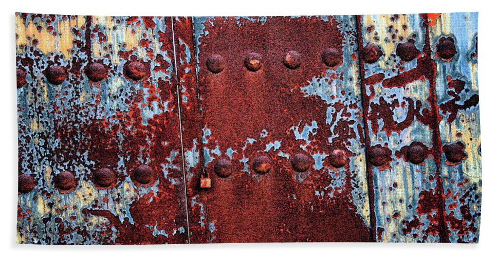 Rust Hand Towel featuring the photograph Forbidden Door by Carol Groenen