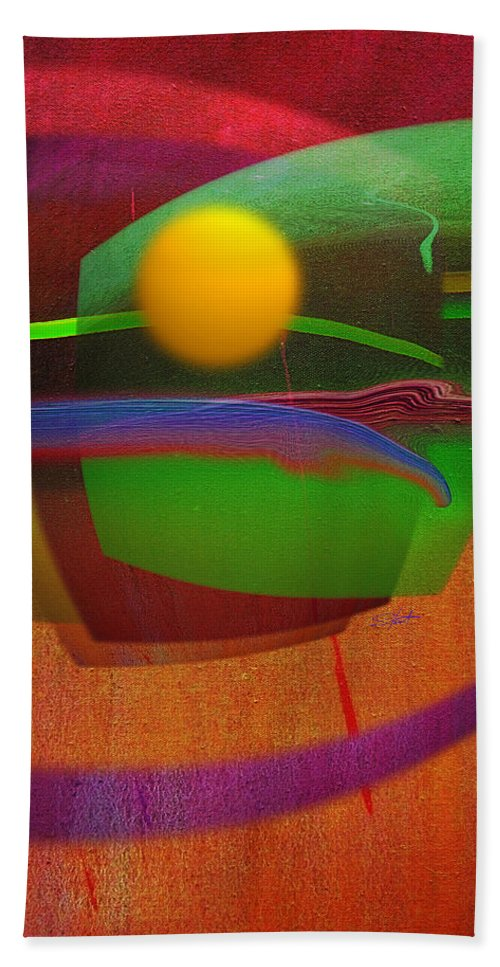 Abstract Hand Towel featuring the painting Forbidden Planet by Charles Stuart