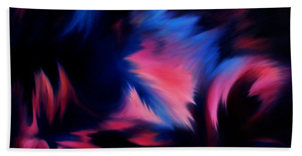 Abstract Hand Towel featuring the painting Forbidden Words by Rachel Christine Nowicki