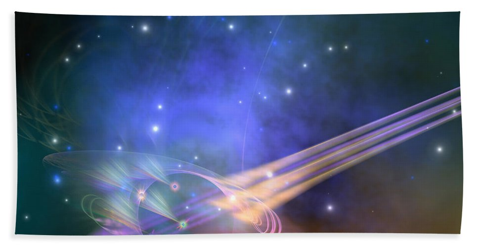 Science Fiction Bath Sheet featuring the painting Force Lines by Corey Ford