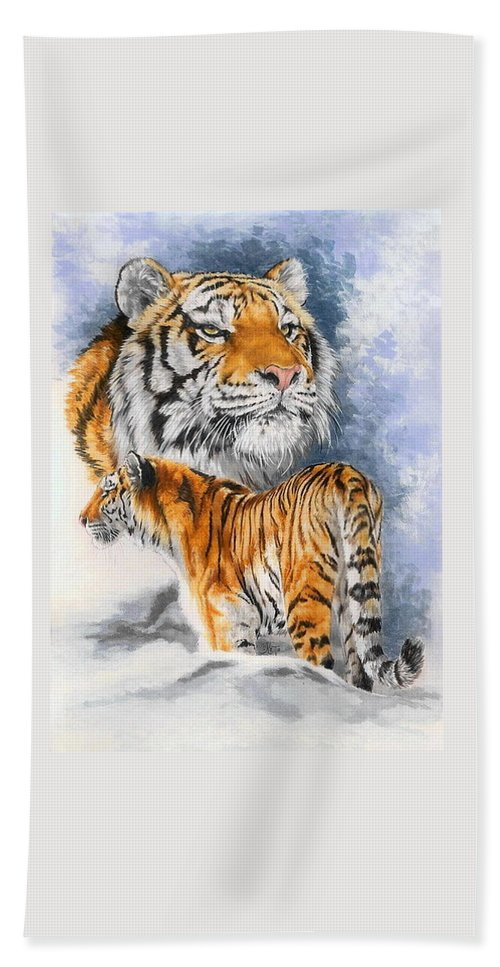 Big Cats Hand Towel featuring the mixed media Forceful by Barbara Keith