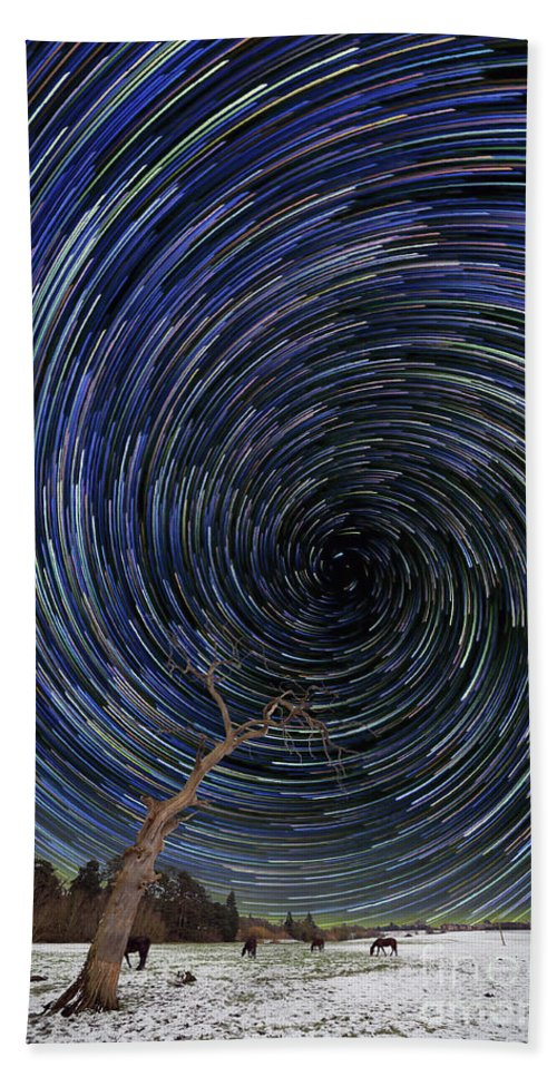 Star Trails Bath Sheet featuring the photograph Forces Of Nature by Ian Haworth
