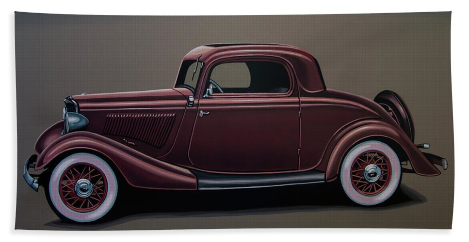 Ford 3 Window Coupe Bath Towel featuring the painting Ford 3 Window Coupe 1933 Painting by Paul Meijering