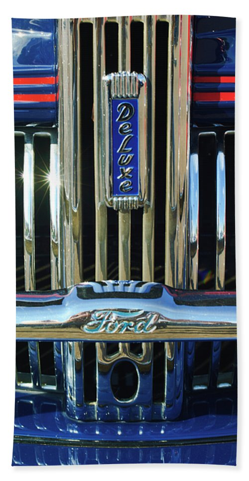 Ford Deluxe Bath Sheet featuring the photograph Ford Deluxe Grille by Jill Reger