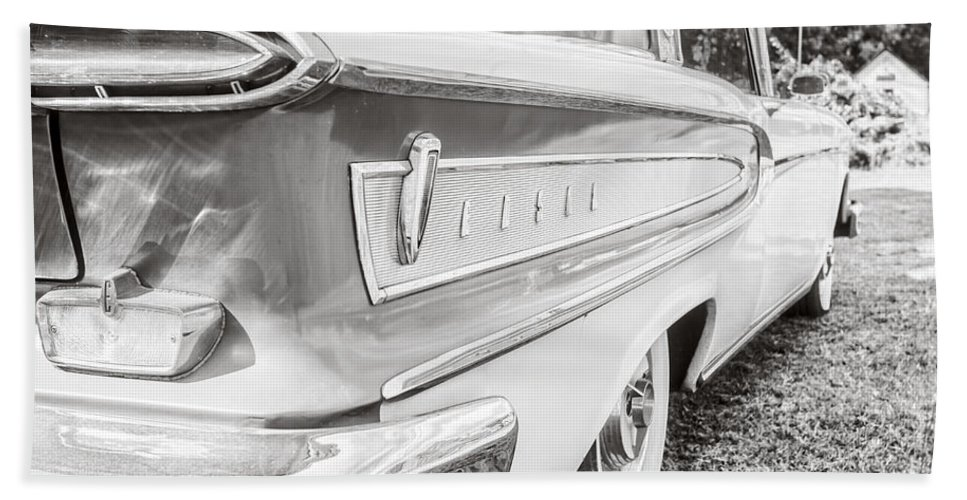Ford Hand Towel featuring the photograph Ford Edsel Black And White by Edward Fielding