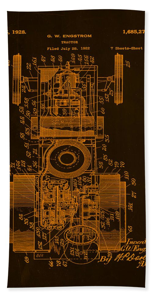 Patent Hand Towel featuring the mixed media Tractor Patent Drawing 7b by Brian Reaves