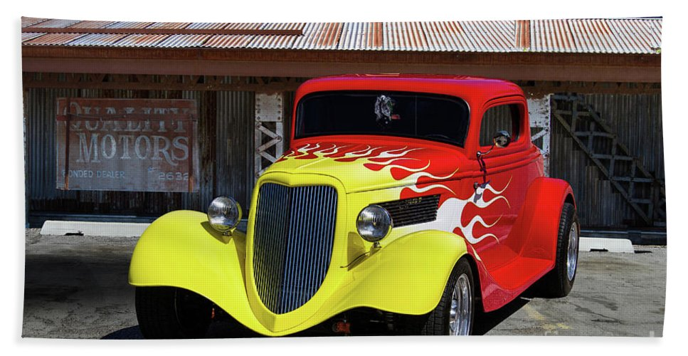 Ford Bath Sheet featuring the photograph Ford Flaming Hot Rod by Nick Gray