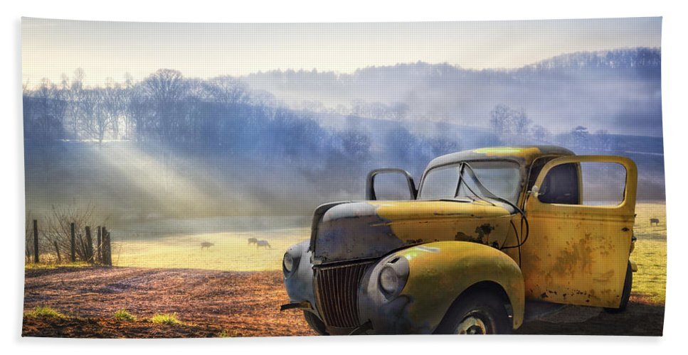 Appalachia Bath Towel featuring the photograph Ford In The Fog by Debra and Dave Vanderlaan