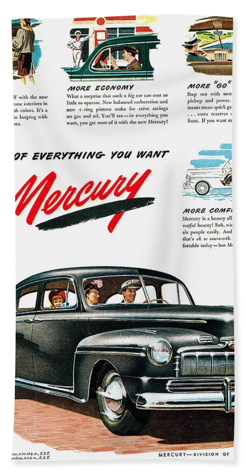 1946 Hand Towel featuring the photograph Ford Mercury Ad, 1946 by Granger
