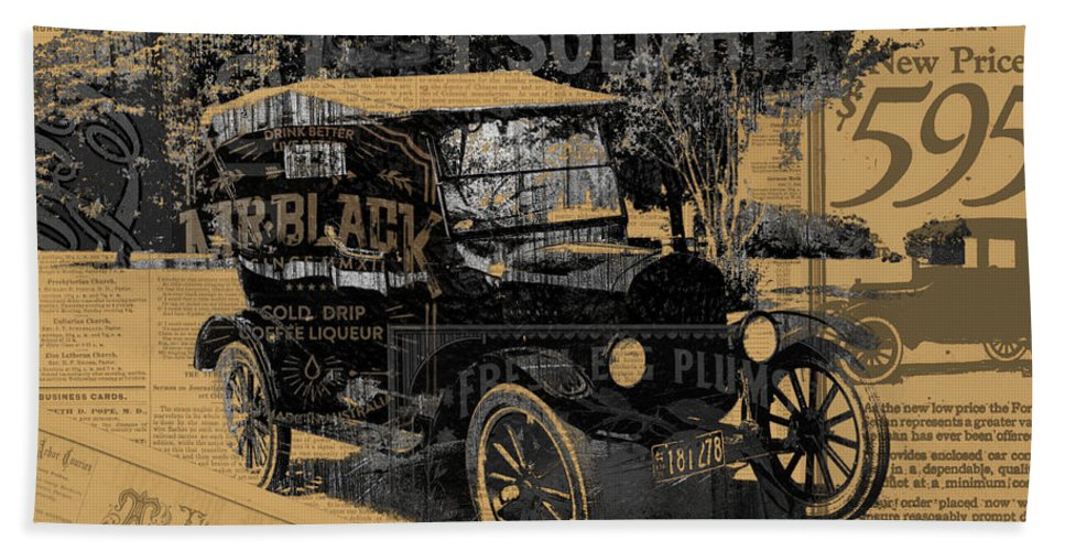 Ford Bath Sheet featuring the mixed media Ford Model T Made Using Found Objects by Design Turnpike