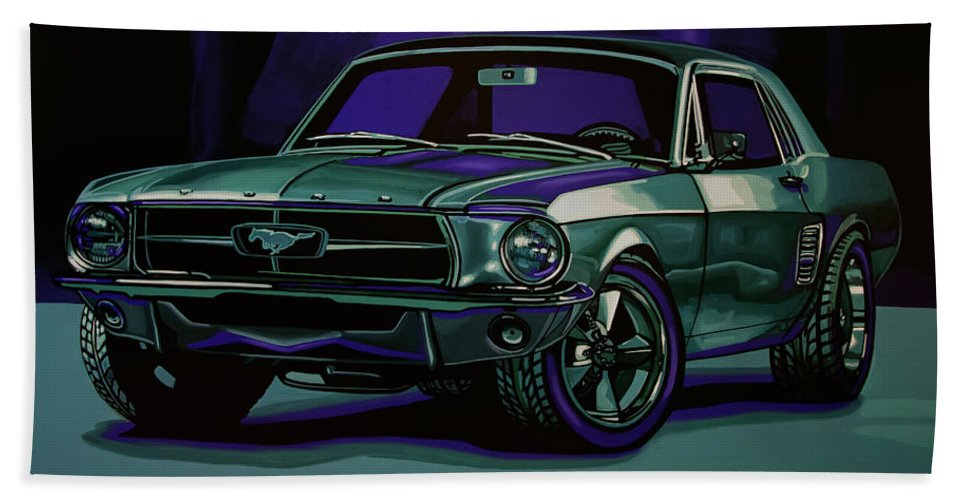 Ford Mustang Bath Towel featuring the painting Ford Mustang 1967 Painting by Paul Meijering