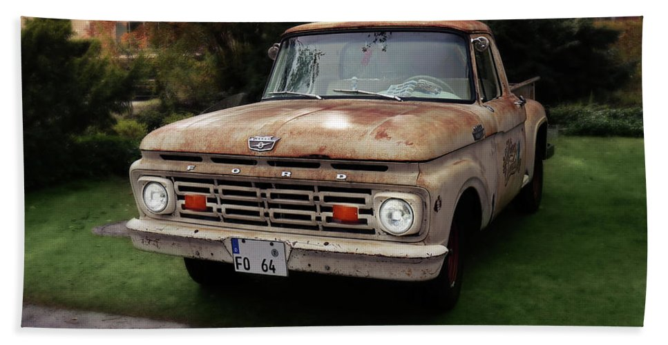 Ford Pickup Hand Towel featuring the photograph Ford Pickup, Ford 1964 by Hotte Hue