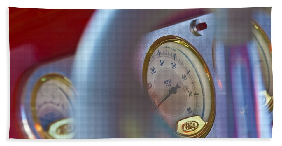 Ford Speedometer Bath Sheet featuring the photograph Ford Speedometer by Jill Reger