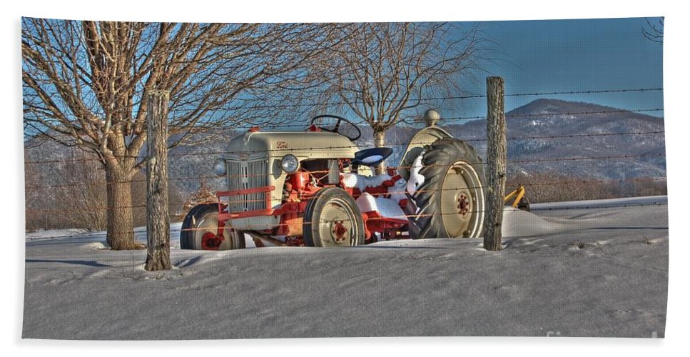 Ford Tractor Hand Towel featuring the photograph Ford Tractor by Todd Hostetter
