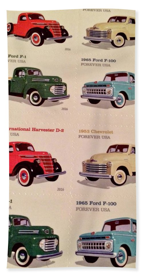 Vintage Bath Sheet featuring the photograph Ford Truck Stamps by Caroline Stella