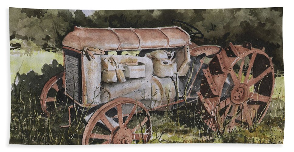 Farm Hand Towel featuring the painting Fordson Model F by Sam Sidders