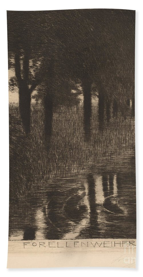 Hand Towel featuring the drawing Forellenweiher (trout Pond) by Franz Von Stuck