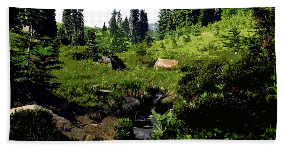 Forest Bath Towel featuring the painting Forest by David Lee Thompson