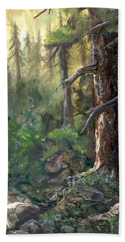 Trees Hand Towel featuring the painting Forest Deep by Sherry Shipley
