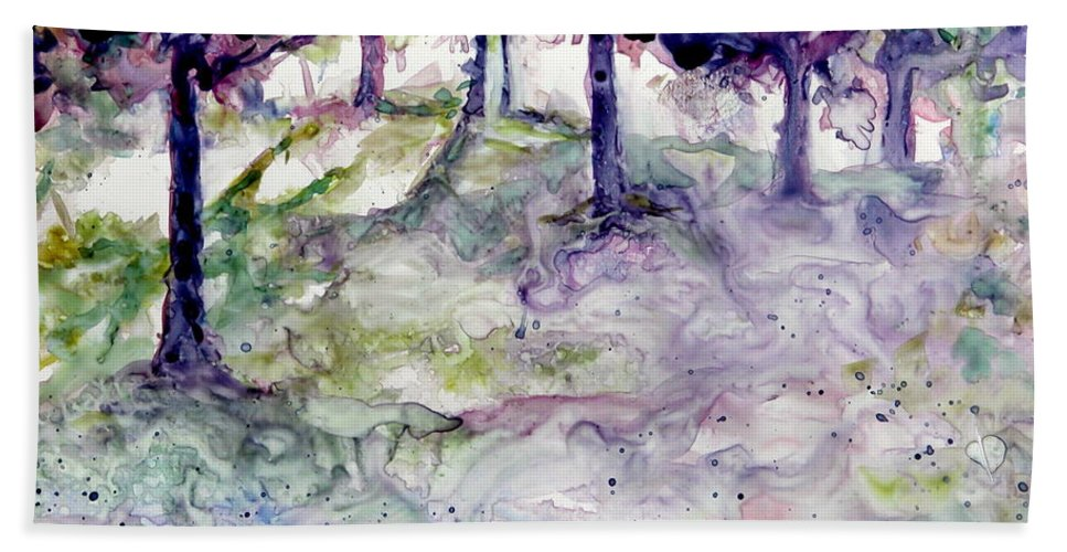 Fastasy Hand Towel featuring the painting Forest Fantasy by Jan Bennicoff