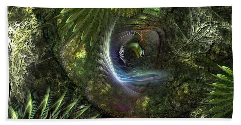 Abstract Hand Towel featuring the digital art Forest Floor Fantasy by Casey Kotas