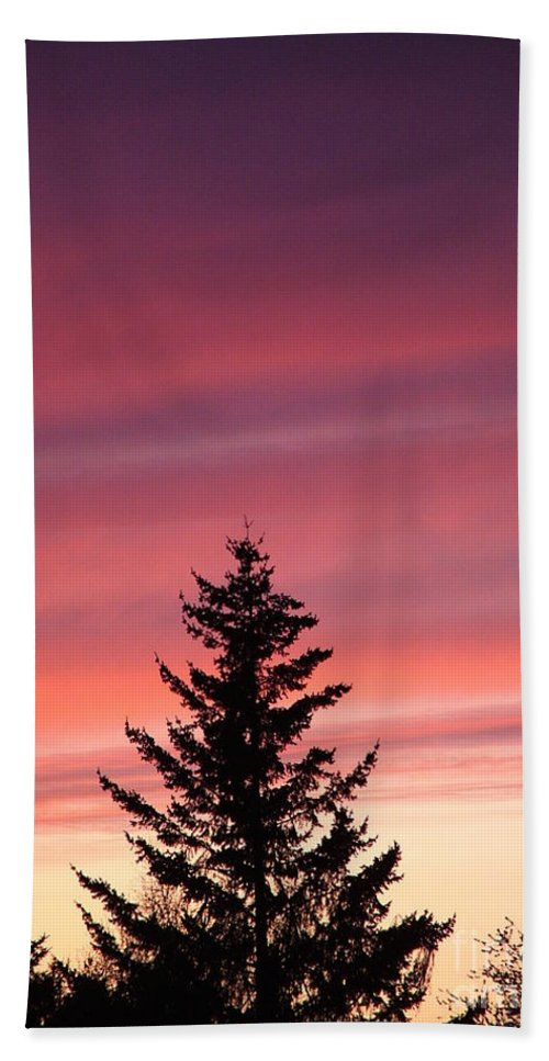 Sunset Photo Bath Sheet featuring the photograph Forest Grove Sunset by Nick Gustafson