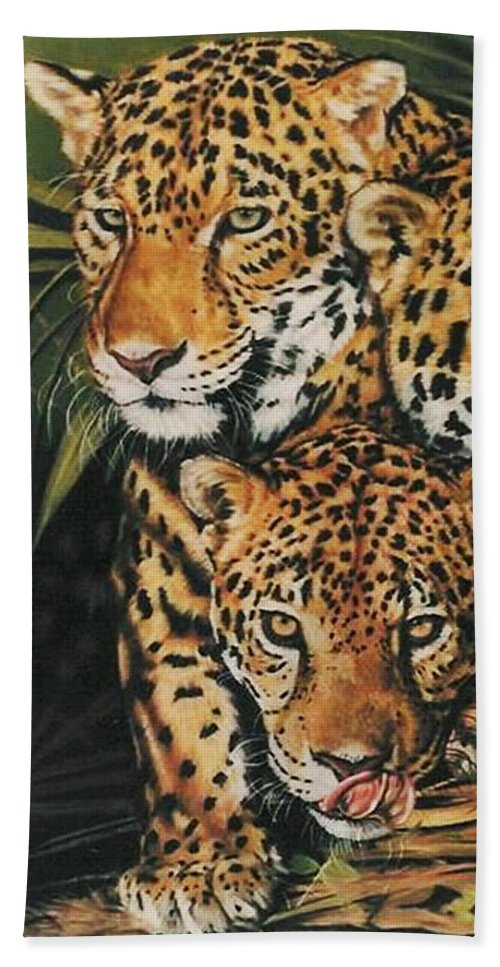 Jaguar Bath Towel featuring the pastel Forest Jewels by Barbara Keith