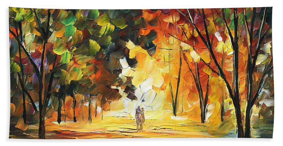 Afremov Bath Sheet featuring the painting Forest by Leonid Afremov