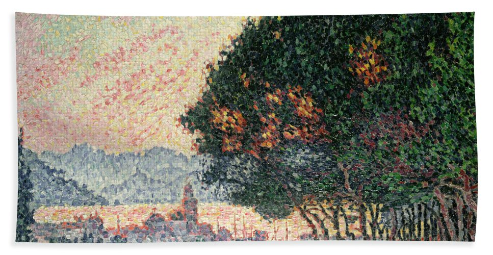 Pointillism Hand Towel featuring the painting Forest Near St Tropez by Paul Signac