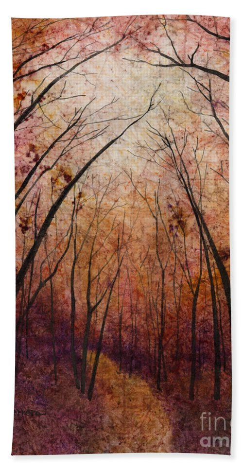 Path Bath Towel featuring the painting Forest Path by Hailey E Herrera