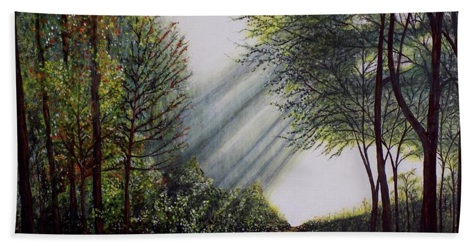 Nature Hand Towel featuring the painting Forest Pathway by Judy Kirouac