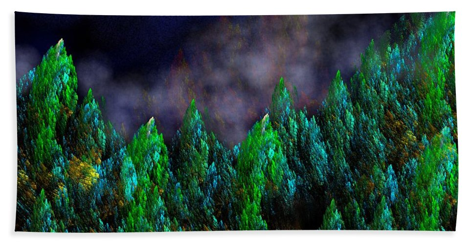 Abstract Digital Painting Hand Towel featuring the digital art Forest Primeval by David Lane