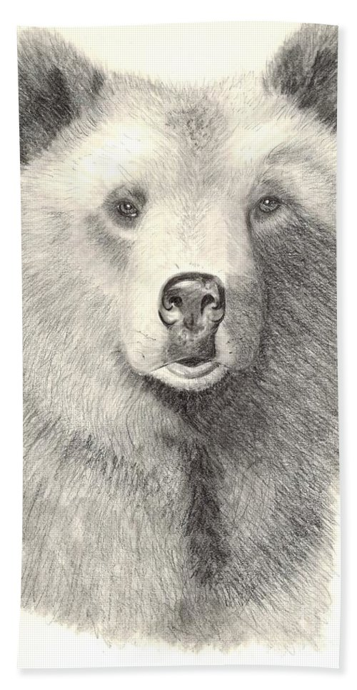 Grizzle Bear Bath Sheet featuring the drawing Forest Sentry by Joette Snyder