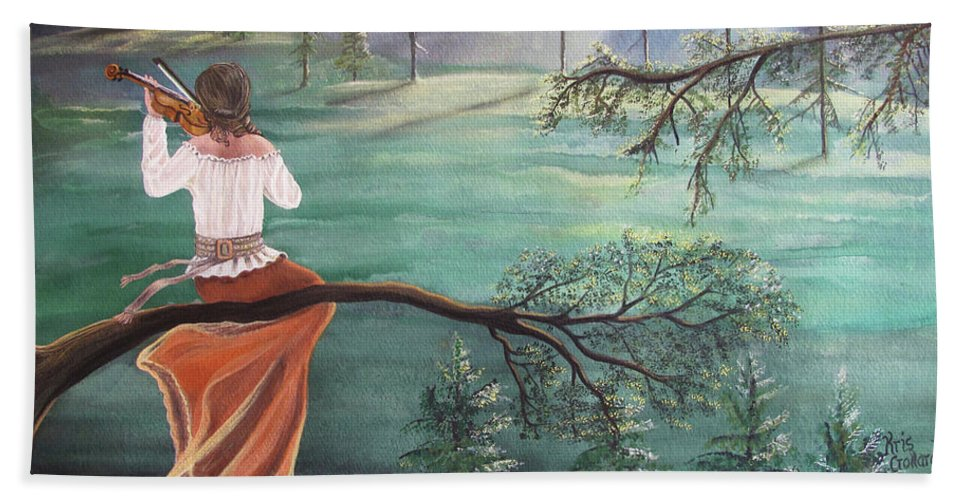Violin Hand Towel featuring the painting Forest Serenade by Kris Crollard