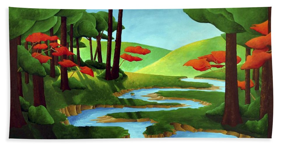 Landscape Bath Towel featuring the painting Forest Stream - Through The Forest Series by Richard Hoedl
